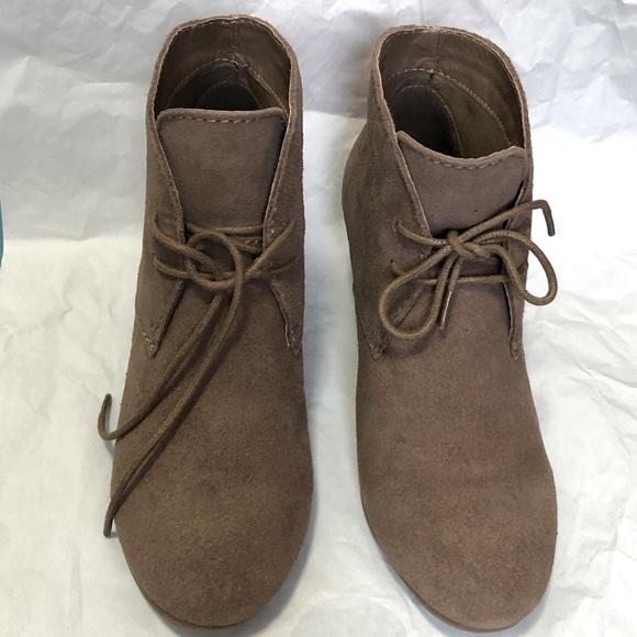 Crown Vintage Ankle Wedge Laced Up Booties